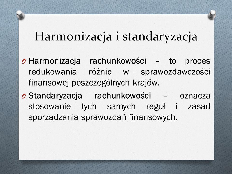O Harmonizacja rachunkowości – to proces redukowania różnic w sprawozdawczości finansowej poszczególnych krajów.