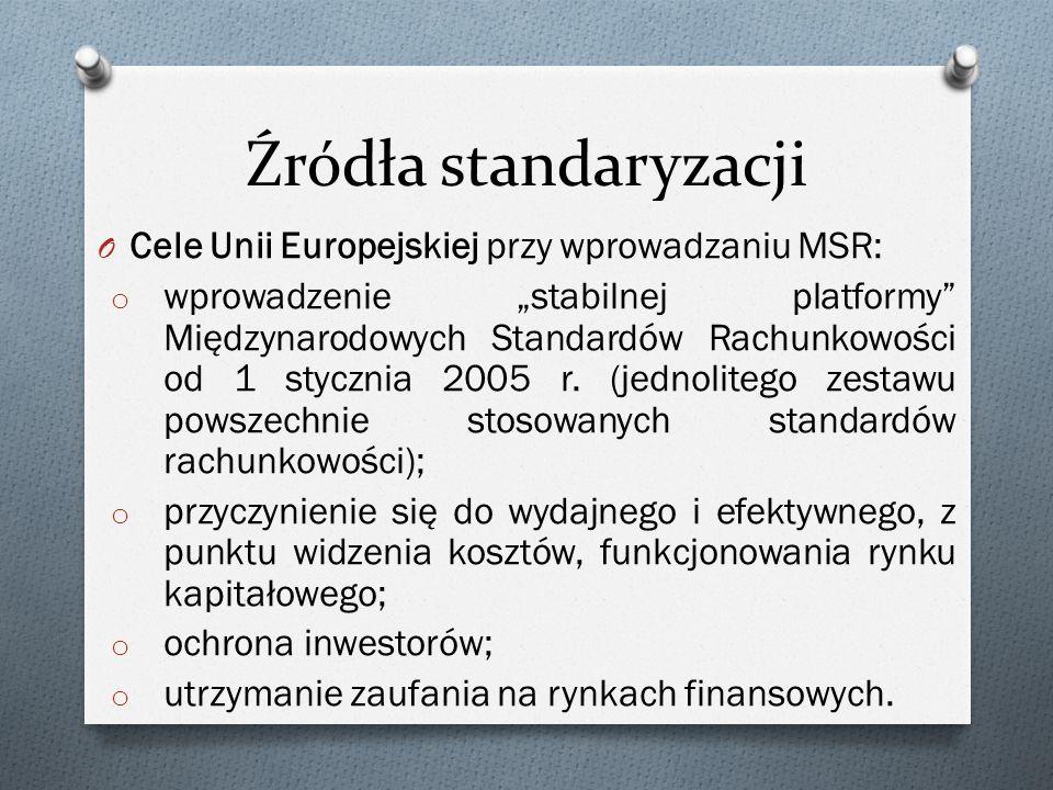 """Źródła standaryzacji O Cele Unii Europejskiej przy wprowadzaniu MSR: o wprowadzenie """"stabilnej platformy Międzynarodowych Standardów Rachunkowości od 1 stycznia 2005 r."""
