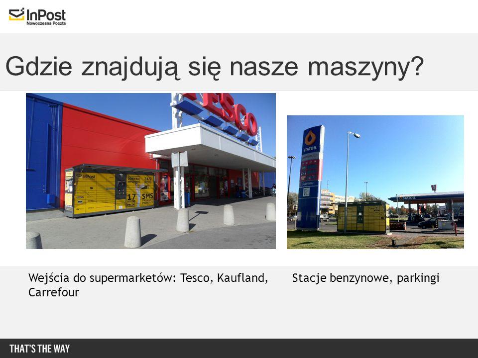 Gdzie znajdują się nasze maszyny? Wejścia do supermarketów: Tesco, Kaufland, Carrefour Stacje benzynowe, parkingi
