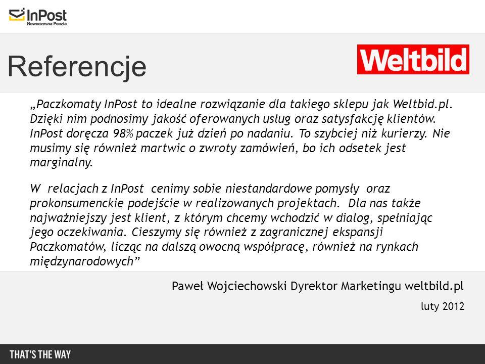 """Referencje """"Paczkomaty InPost to idealne rozwiązanie dla takiego sklepu jak Weltbid.pl. Dzięki nim podnosimy jakość oferowanych usług oraz satysfakcję"""