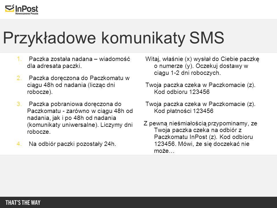 Przykładowe komunikaty SMS 1. Paczka została nadana – wiadomość dla adresata paczki. 2. Paczka doręczona do Paczkomatu w ciągu 48h od nadania (licząc