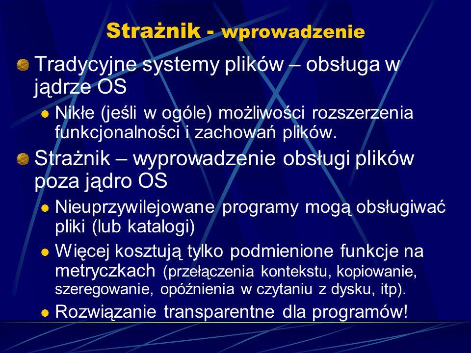 Strażnik - wprowadzenie Tradycyjne systemy plików – obsługa w jądrze OS Nikłe (jeśli w ogóle) możliwości rozszerzenia funkcjonalności i zachowań plików.