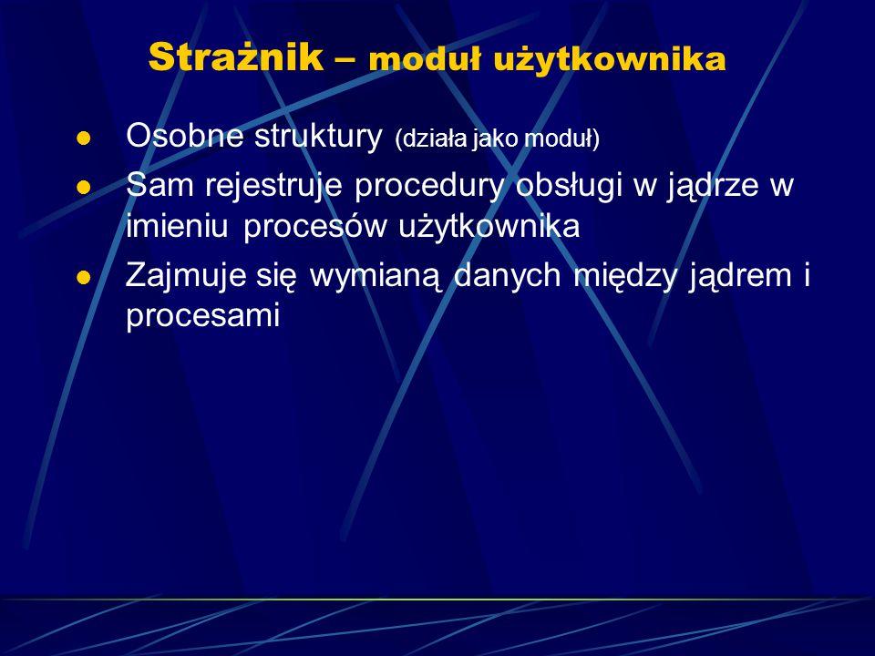 Strażnik – moduł użytkownika Osobne struktury (działa jako moduł) Sam rejestruje procedury obsługi w jądrze w imieniu procesów użytkownika Zajmuje się wymianą danych między jądrem i procesami