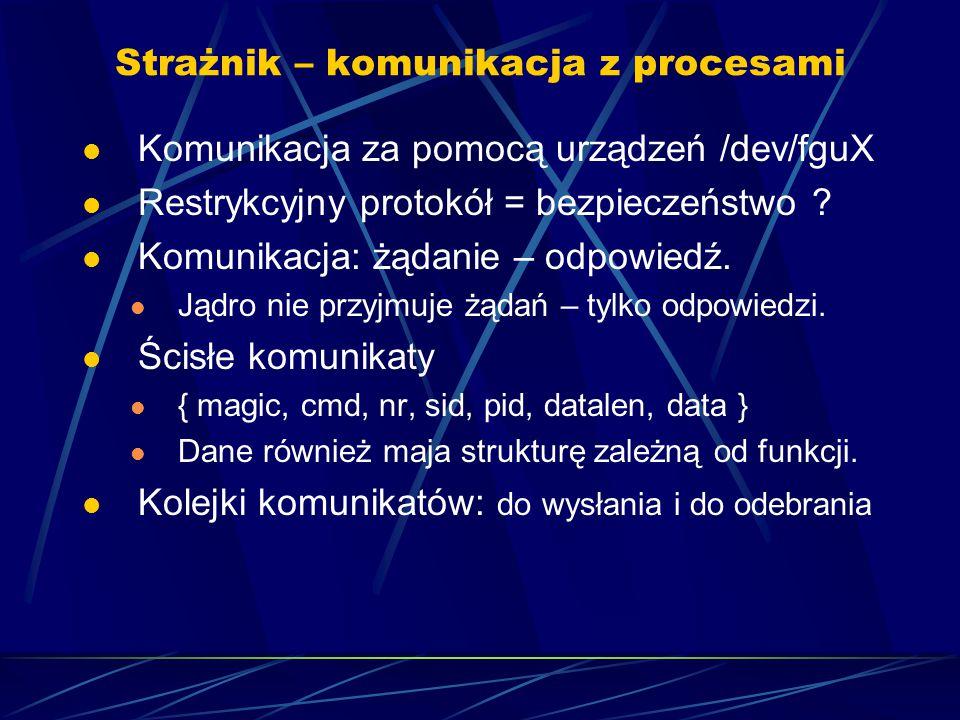 Strażnik – komunikacja z procesami Komunikacja za pomocą urządzeń /dev/fguX Restrykcyjny protokół = bezpieczeństwo .