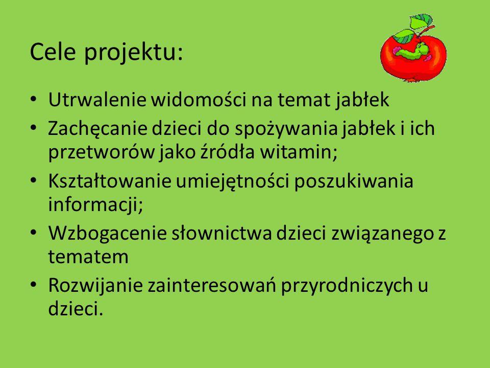 Cele projektu: Utrwalenie widomości na temat jabłek Zachęcanie dzieci do spożywania jabłek i ich przetworów jako źródła witamin; Kształtowanie umiejętności poszukiwania informacji; Wzbogacenie słownictwa dzieci związanego z tematem Rozwijanie zainteresowań przyrodniczych u dzieci.