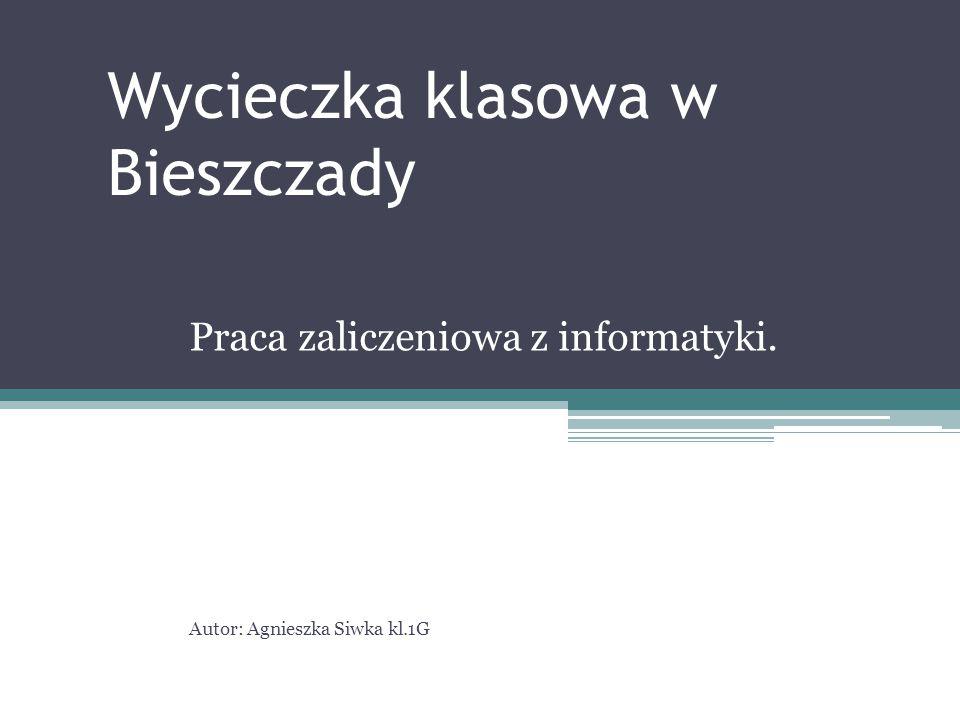 Wycieczka klasowa w Bieszczady Praca zaliczeniowa z informatyki. Autor: Agnieszka Siwka kl.1G