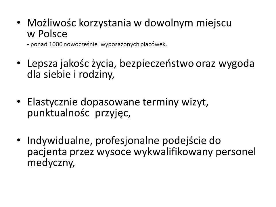 Możliwośc korzystania w dowolnym miejscu w Polsce - ponad 1000 nowocześnie wyposażonych placówek, Lepsza jakośc życia, bezpieczeństwo oraz wygoda dla