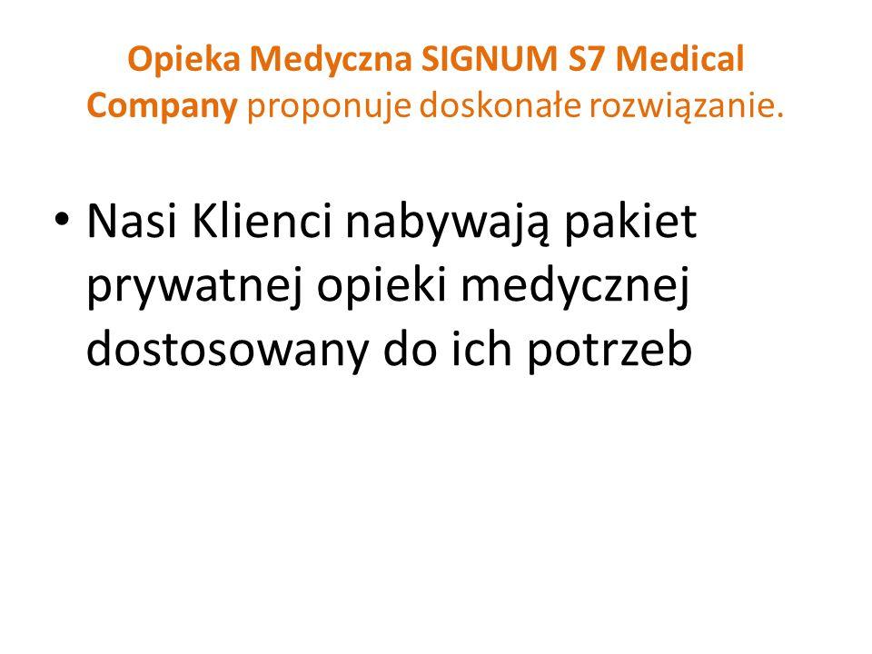 Opieka Medyczna SIGNUM S7 Medical Company proponuje doskonałe rozwiązanie. Nasi Klienci nabywają pakiet prywatnej opieki medycznej dostosowany do ich