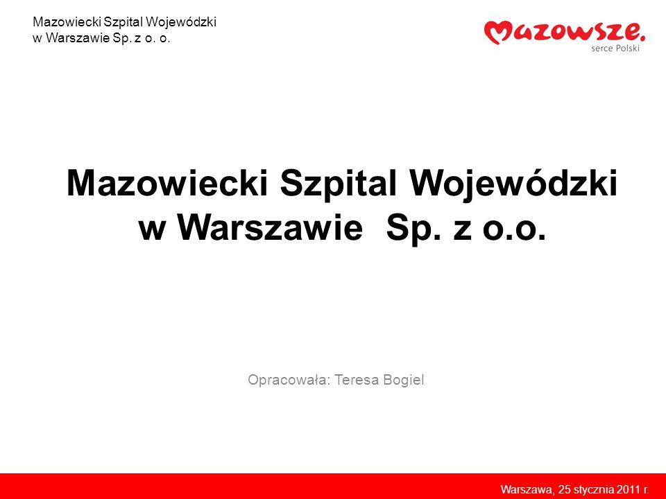 Mazowiecki Szpital Wojewódzki w Warszawie Sp. z o.o. Opracowała: Teresa Bogiel Mazowiecki Szpital Wojewódzki w Warszawie Sp. z o. o. Warszawa, 25 styc
