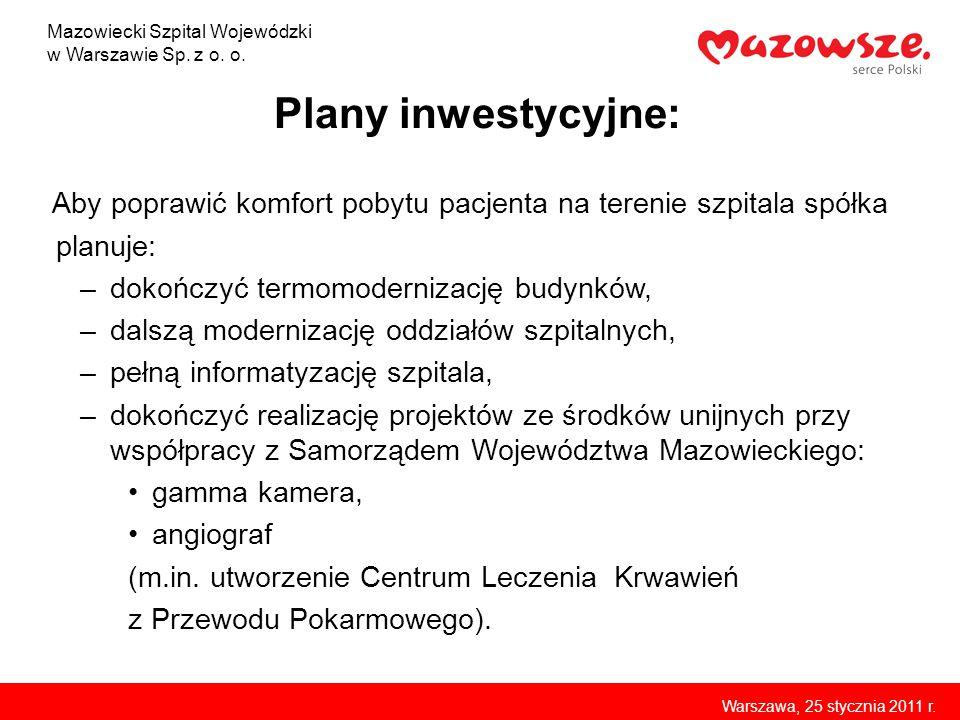 Plany inwestycyjne: Aby poprawić komfort pobytu pacjenta na terenie szpitala spółka planuje: –dokończyć termomodernizację budynków, –dalszą modernizac