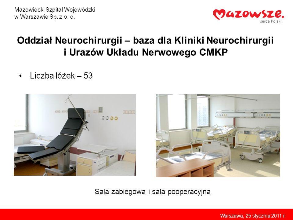 Oddział Neurochirurgii – baza dla Kliniki Neurochirurgii i Urazów Układu Nerwowego CMKP Liczba łóżek – 53 Mazowiecki Szpital Wojewódzki w Warszawie Sp