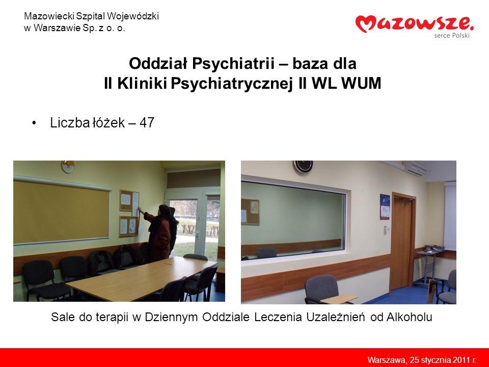 p. z o.o. Oddział Psychiatrii – baza dla II Kliniki Psychiatrycznej II WL WUM Liczba łóżek – 47 Sale do terapii w Dziennym Oddziale Leczenia Uzależnie