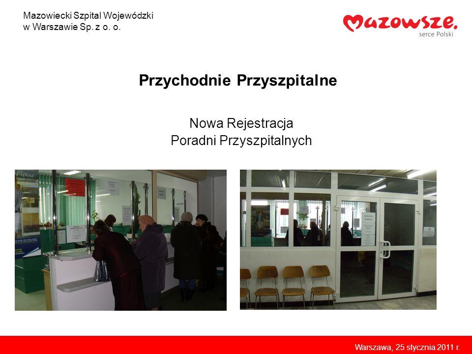 Przychodnie Przyszpitalne Nowa Rejestracja Poradni Przyszpitalnych Mazowiecki Szpital Wojewódzki w Warszawie Sp. z o. o. Warszawa, 25 stycznia 2011 r.