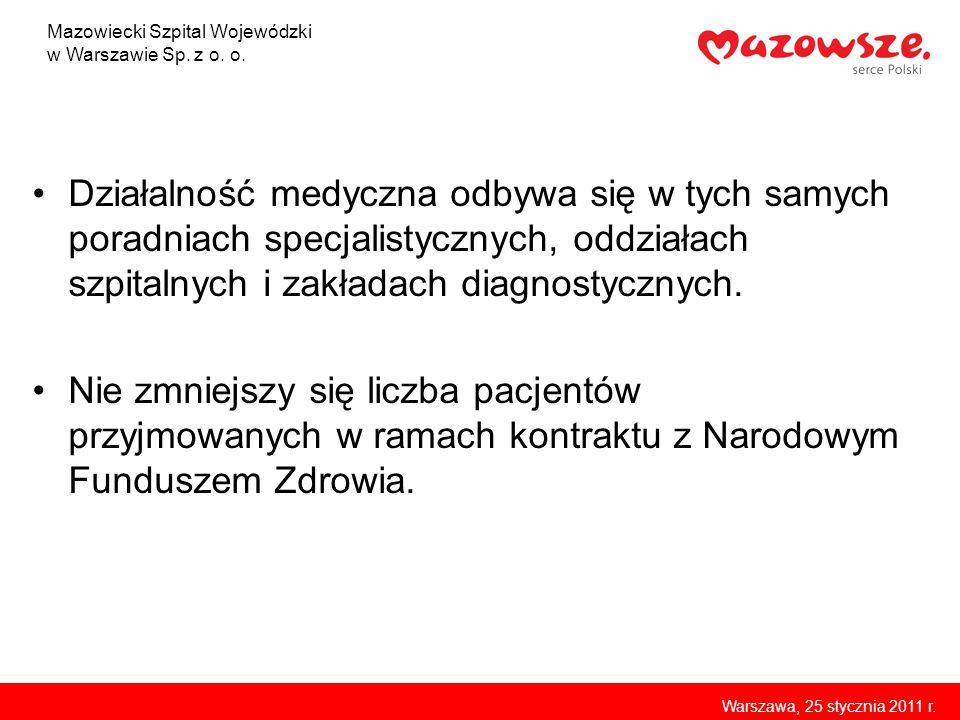 Kontrakt z Narodowym Funduszem Zdrowia Wartość kontraktów na 2011 rok 129 279 175,50 zł Wartość kontraktu na 2010 rok – 128 540 005, 98 zł (w roku 2010 Szpital Bródnowski wypracował nadwykonania na około 3 000 000 zł) Wartość kontraktu na 2009 rok – 129 006 672, 42 zł Mazowiecki Szpital Wojewódzki w Warszawie Sp.