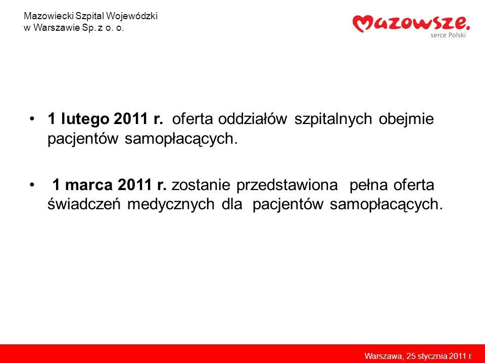 1 lutego 2011 r. oferta oddziałów szpitalnych obejmie pacjentów samopłacących. 1 marca 2011 r. zostanie przedstawiona pełna oferta świadczeń medycznyc