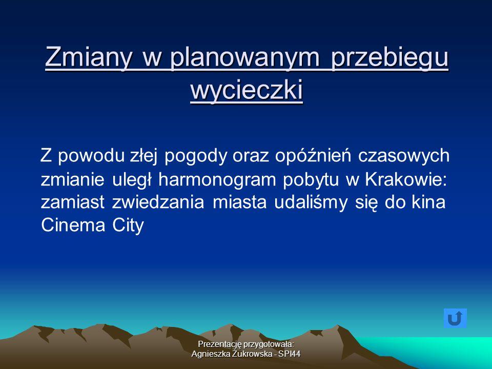Zmiany w planowanym przebiegu wycieczki Z powodu złej pogody oraz opóźnień czasowych zmianie uległ harmonogram pobytu w Krakowie: zamiast zwiedzania m