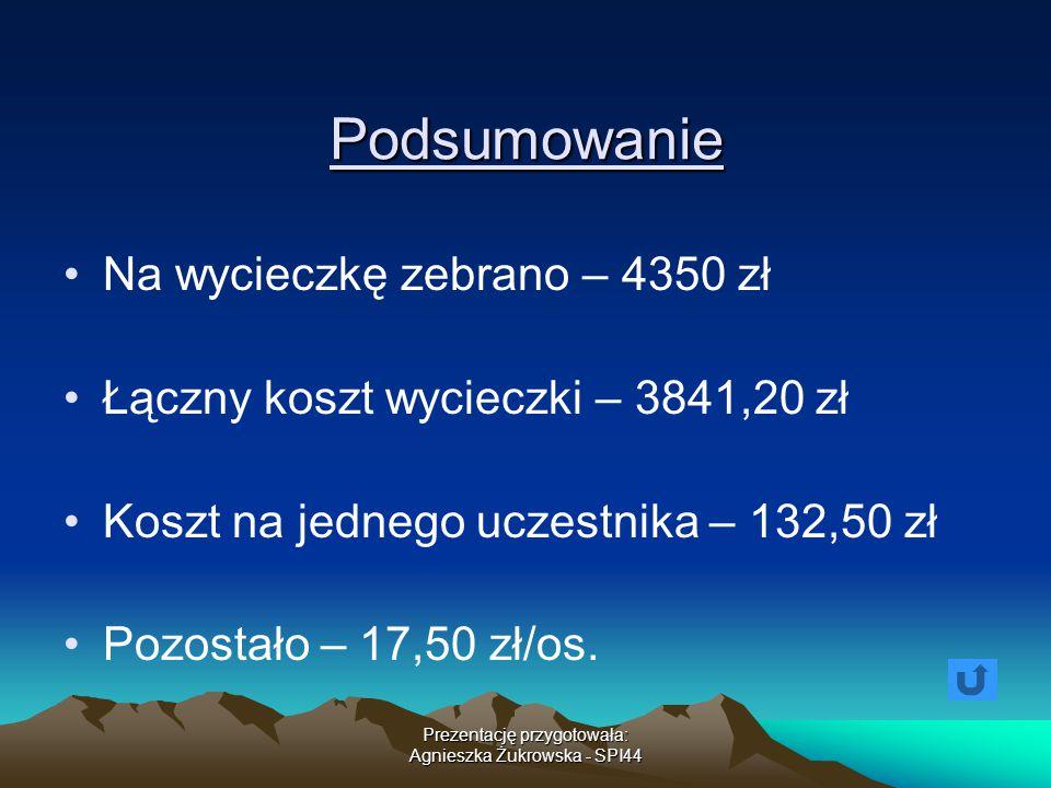 Prezentację przygotowała: Agnieszka Żukrowska - SPI44 Podsumowanie Na wycieczkę zebrano – 4350 zł Łączny koszt wycieczki – 3841,20 zł Koszt na jednego