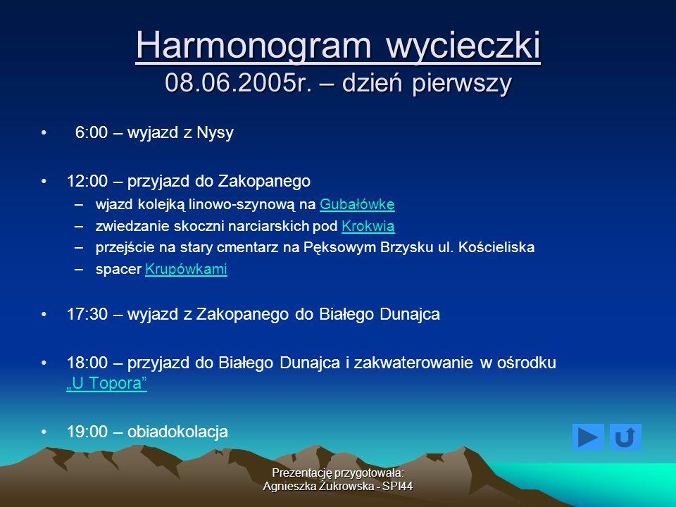 Prezentację przygotowała: Agnieszka Żukrowska - SPI44 Harmonogram wycieczki 08.06.2005r. – dzień pierwszy 6:00 – wyjazd z Nysy 12:00 – przyjazd do Zak