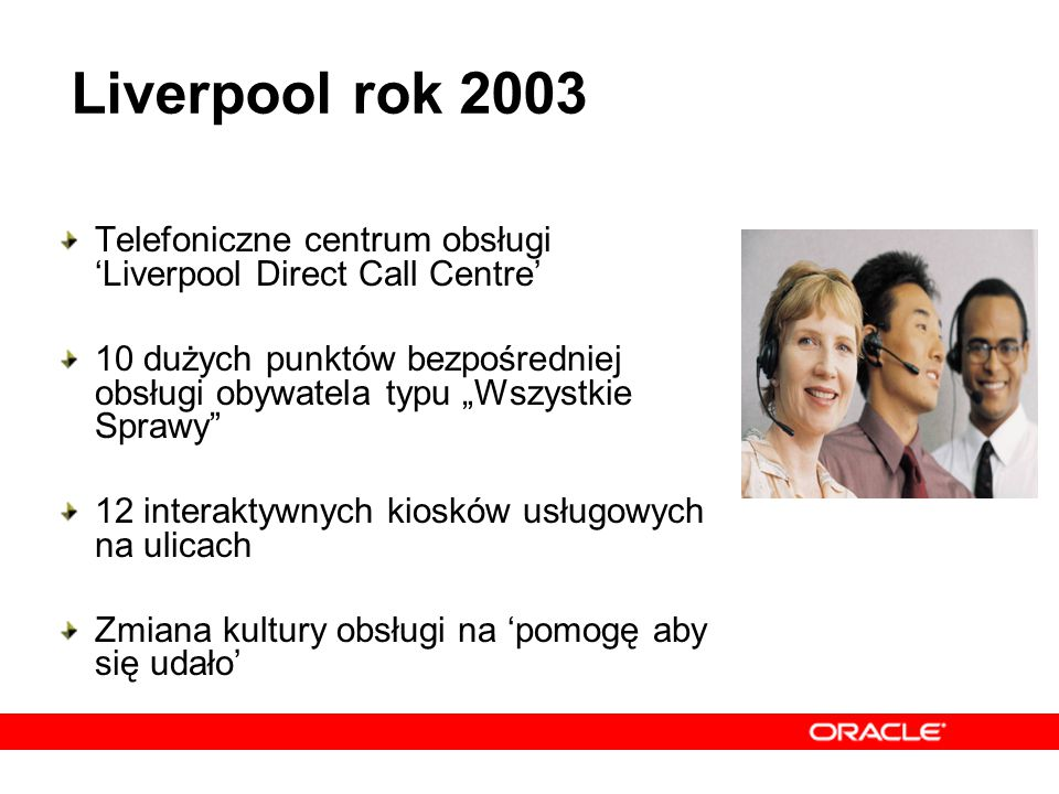 """Telefoniczne centrum obsługi 'Liverpool Direct Call Centre' 10 dużych punktów bezpośredniej obsługi obywatela typu """"Wszystkie Sprawy"""" 12 interaktywnyc"""