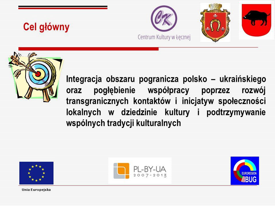 Cel główny Integracja obszaru pogranicza polsko – ukraińskiego oraz pogłębienie współpracy poprzez rozwój transgranicznych kontaktów i inicjatyw społeczności lokalnych w dziedzinie kultury i podtrzymywanie wspólnych tradycji kulturalnych Unia Europejska