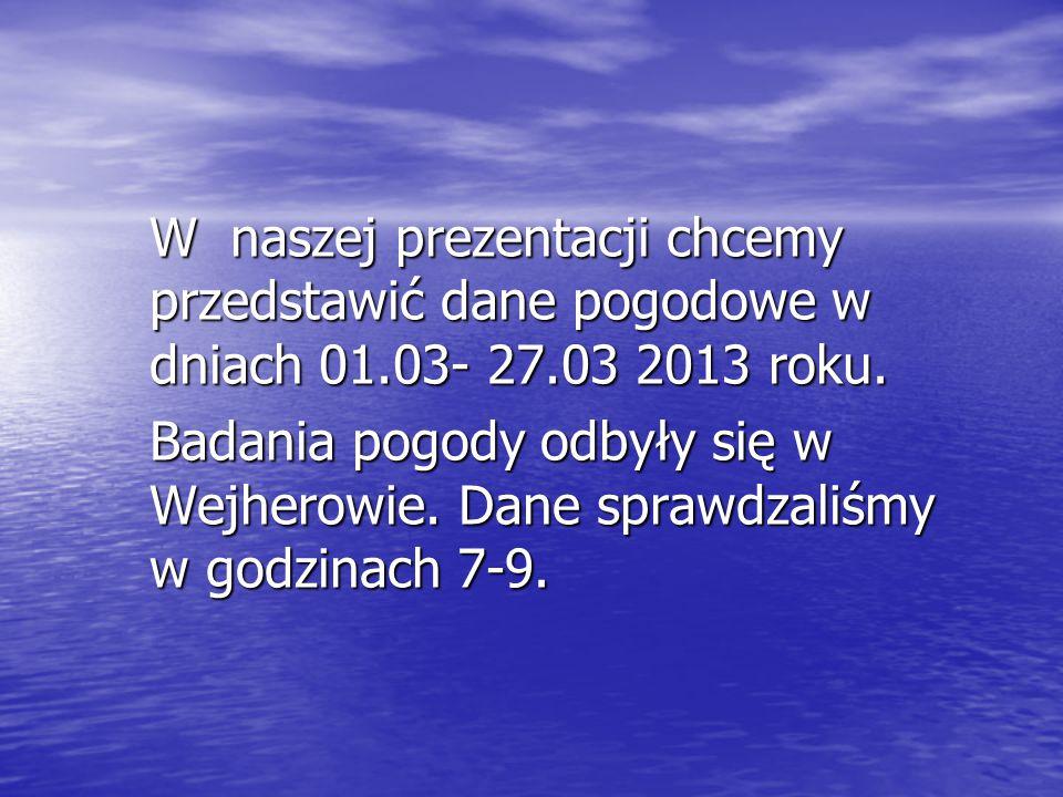 W naszej prezentacji chcemy przedstawić dane pogodowe w dniach 01.03- 27.03 2013 roku.