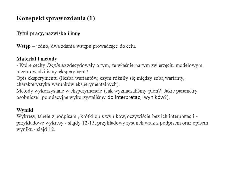 Konspekt sprawozdania (1) Tytuł pracy, nazwisko i imię Wstęp – jedno, dwa zdania wstępu prowadzące do celu. Materiał i metody - Które cechy Daphnia zd