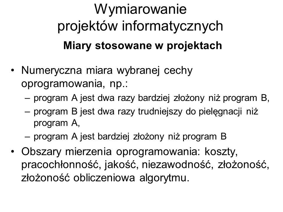 Wymiarowanie projektów informatycznych Miary stosowane w projektach Numeryczna miara wybranej cechy oprogramowania, np.: –program A jest dwa razy bard