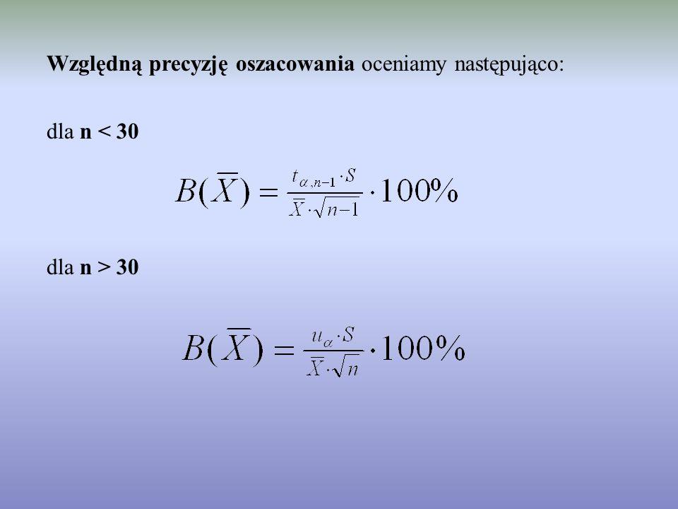 Względną precyzję oszacowania oceniamy następująco: dla n < 30 dla n > 30