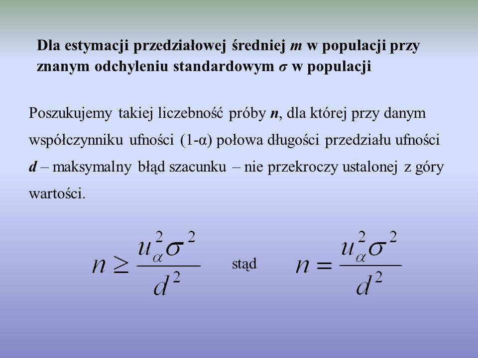 Dla estymacji przedziałowej średniej m w populacji przy znanym odchyleniu standardowym σ w populacji Poszukujemy takiej liczebność próby n, dla której przy danym współczynniku ufności (1-α) połowa długości przedziału ufności d – maksymalny błąd szacunku – nie przekroczy ustalonej z góry wartości.