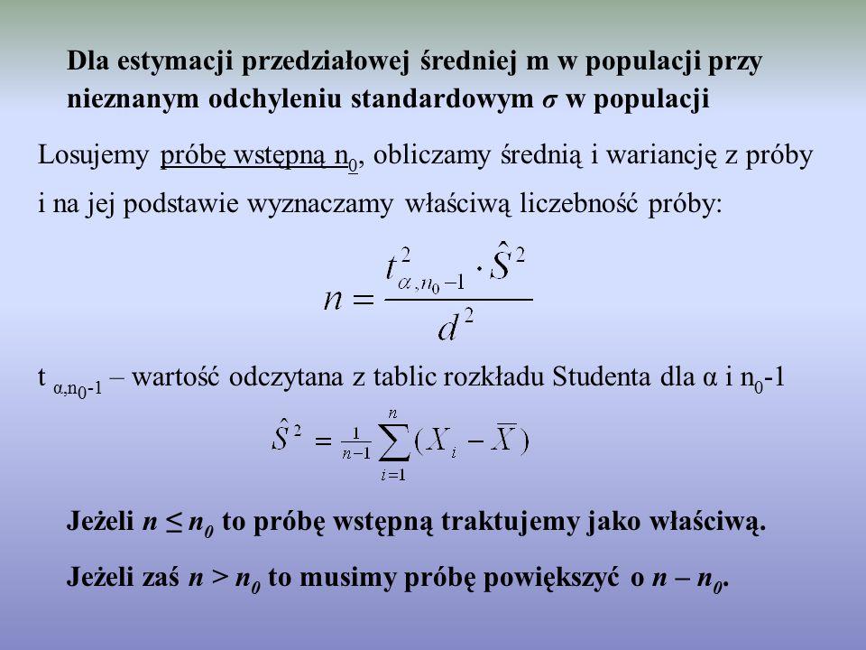 Dla estymacji przedziałowej średniej m w populacji przy nieznanym odchyleniu standardowym σ w populacji Losujemy próbę wstępną n 0, obliczamy średnią i wariancję z próby i na jej podstawie wyznaczamy właściwą liczebność próby: t α,n 0 -1 – wartość odczytana z tablic rozkładu Studenta dla α i n 0 -1 Jeżeli n ≤ n 0 to próbę wstępną traktujemy jako właściwą.