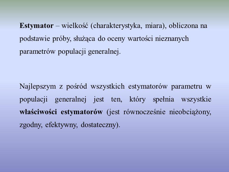 Estymator – wielkość (charakterystyka, miara), obliczona na podstawie próby, służąca do oceny wartości nieznanych parametrów populacji generalnej. Naj