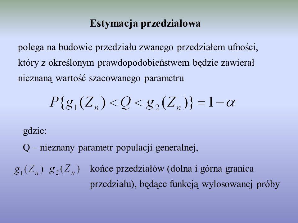 Estymacja przedziałowa polega na budowie przedziału zwanego przedziałem ufności, który z określonym prawdopodobieństwem będzie zawierał nieznaną wartość szacowanego parametru gdzie: Q – nieznany parametr populacji generalnej, końce przedziałów (dolna i górna granica przedziału), będące funkcją wylosowanej próby