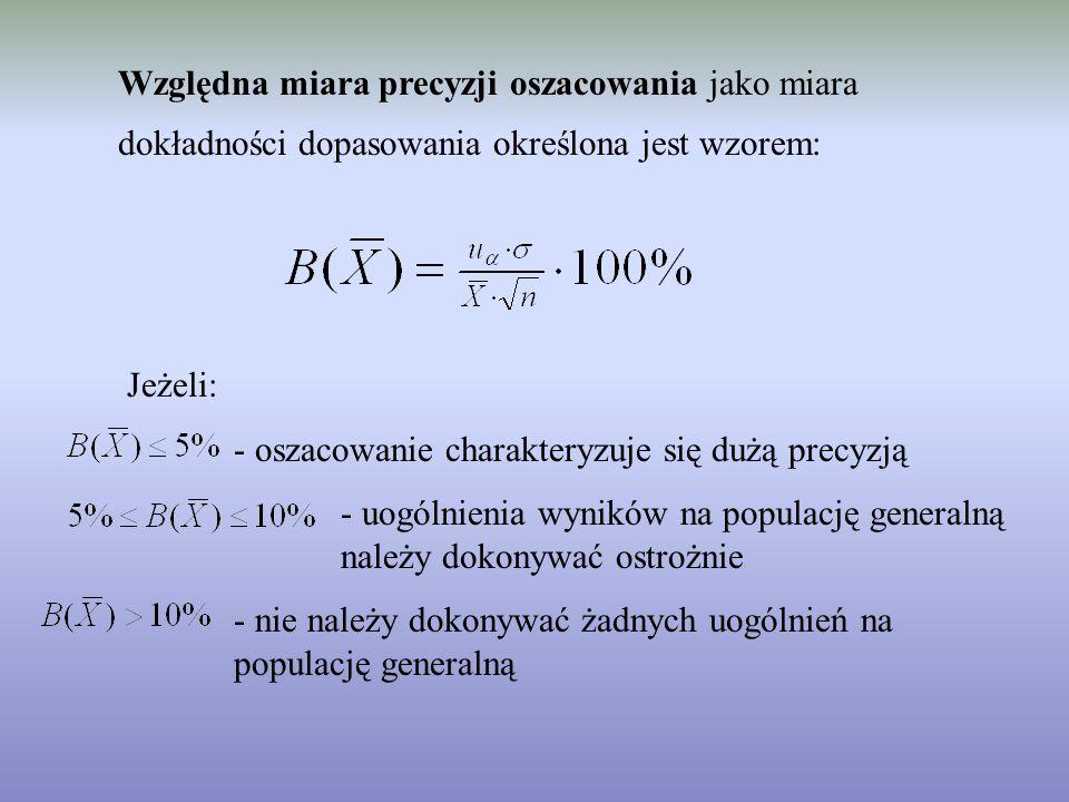 Względna miara precyzji oszacowania jako miara dokładności dopasowania określona jest wzorem: Jeżeli: - oszacowanie charakteryzuje się dużą precyzją -