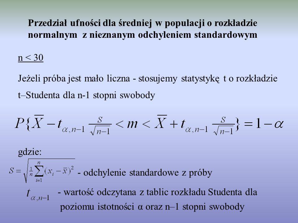 Przedział ufności dla średniej w populacji o rozkładzie normalnym z nieznanym odchyleniem standardowym n < 30 Jeżeli próba jest mało liczna - stosujemy statystykę t o rozkładzie t–Studenta dla n-1 stopni swobody gdzie: - odchylenie standardowe z próby - wartość odczytana z tablic rozkładu Studenta dla poziomu istotności α oraz n–1 stopni swobody