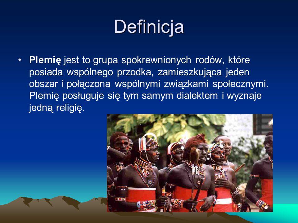 Definicja Plemię jest to grupa spokrewnionych rodów, które posiada wspólnego przodka, zamieszkująca jeden obszar i połączona wspólnymi związkami społe