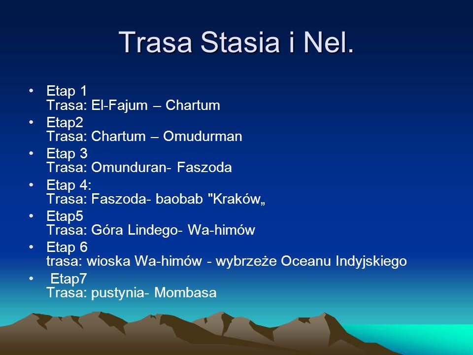 Trasa Stasia i Nel. Etap 1 Trasa: El-Fajum – Chartum Etap2 Trasa: Chartum – Omudurman Etap 3 Trasa: Omunduran- Faszoda Etap 4: Trasa: Faszoda- baobab