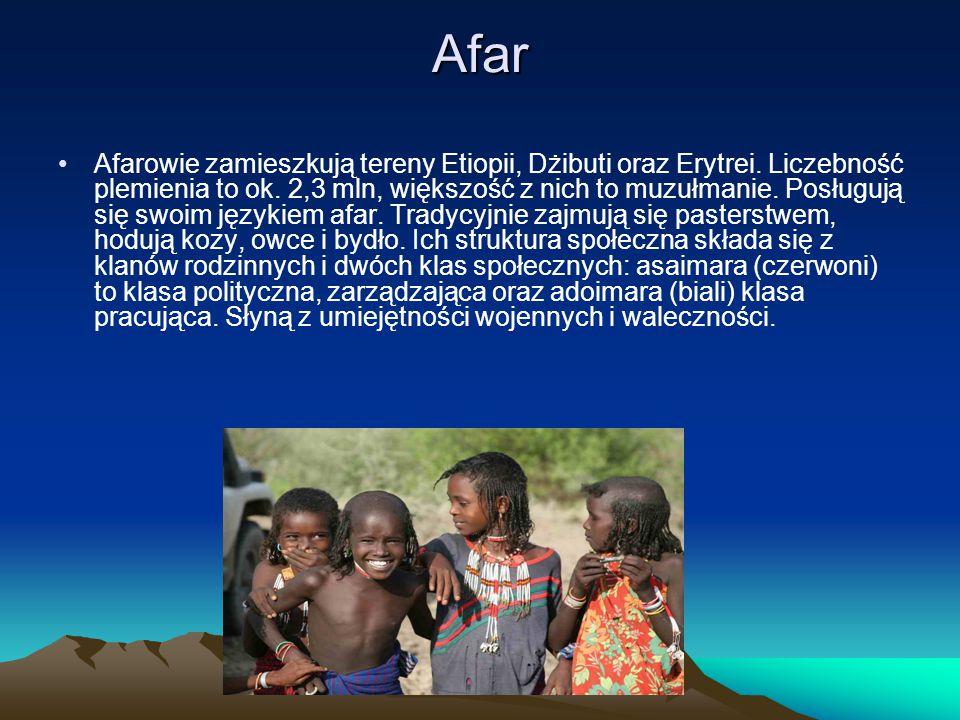 Afar Afarowie zamieszkują tereny Etiopii, Dżibuti oraz Erytrei. Liczebność plemienia to ok. 2,3 mln, większość z nich to muzułmanie. Posługują się swo