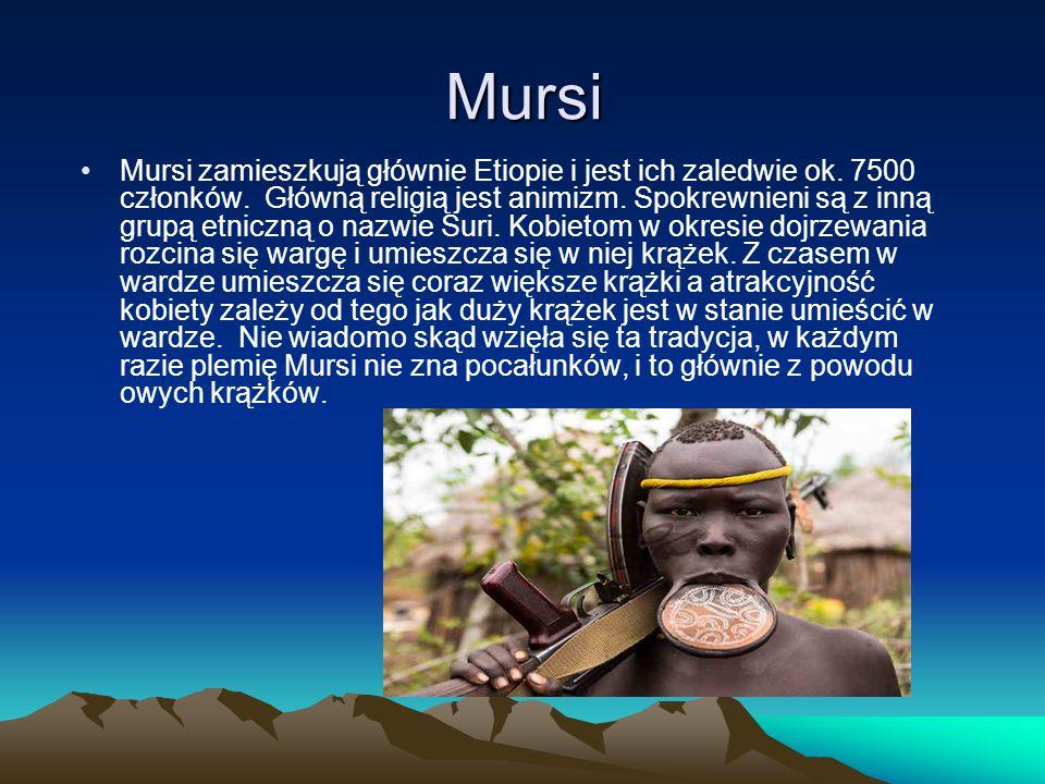 Mursi Mursi zamieszkują głównie Etiopie i jest ich zaledwie ok. 7500 członków. Główną religią jest animizm. Spokrewnieni są z inną grupą etniczną o na