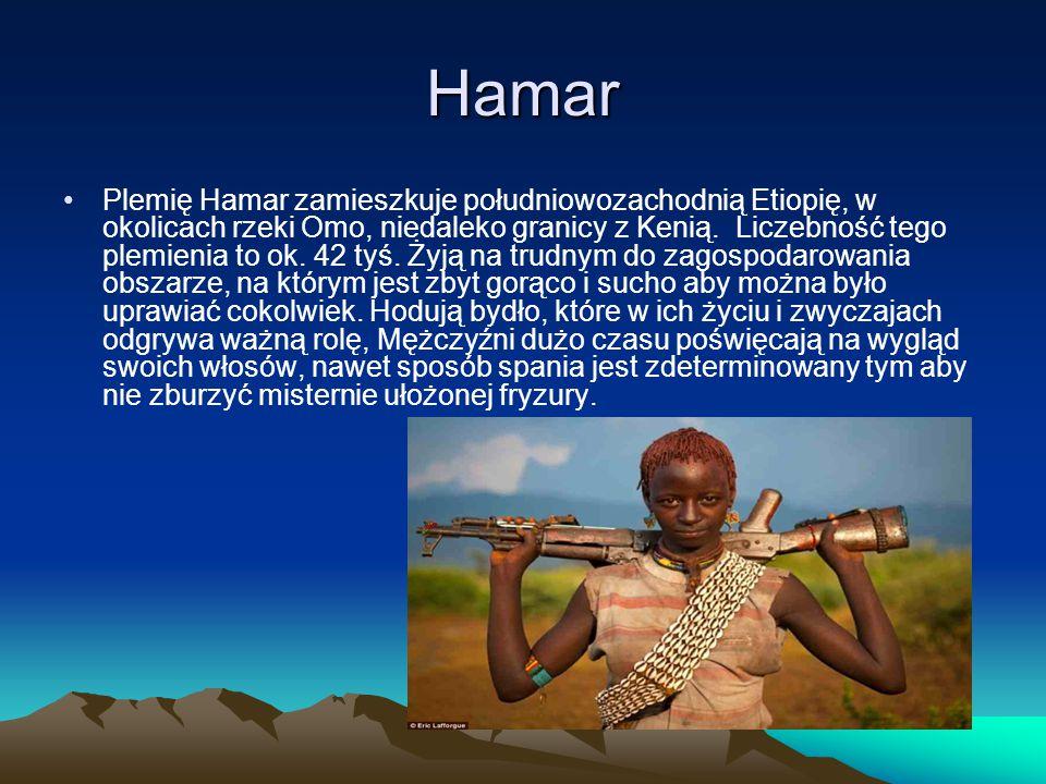 Hamar Plemię Hamar zamieszkuje południowozachodnią Etiopię, w okolicach rzeki Omo, niedaleko granicy z Kenią. Liczebność tego plemienia to ok. 42 tyś.