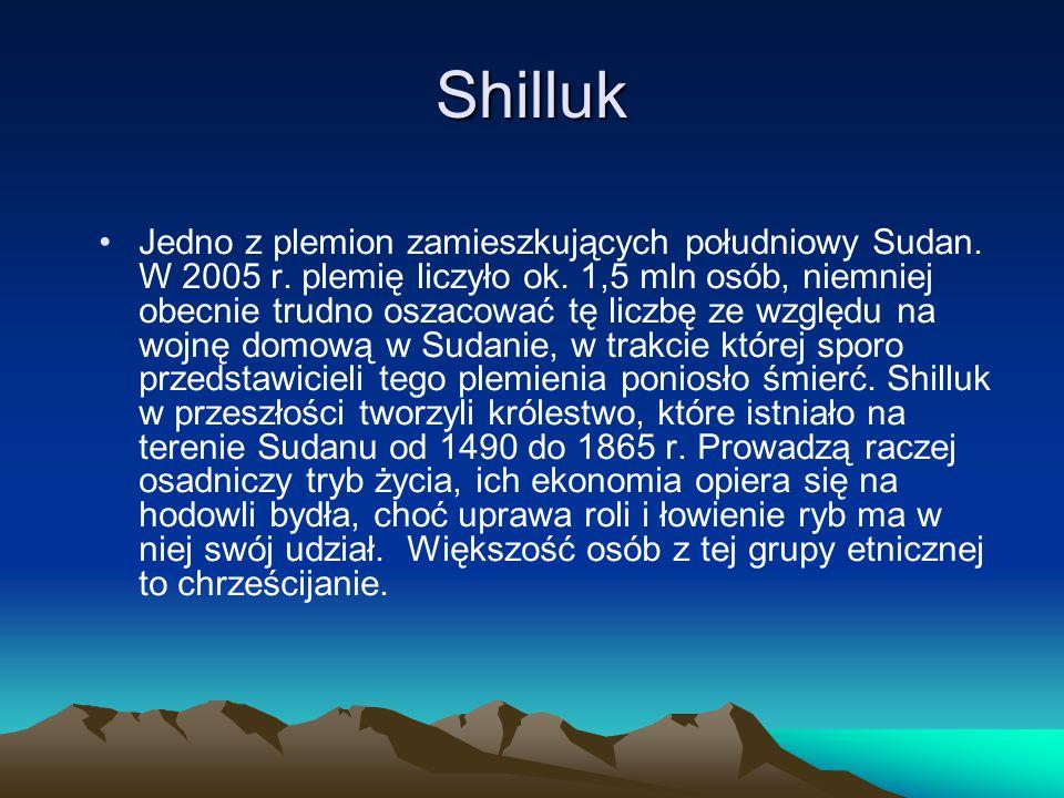 Shilluk Jedno z plemion zamieszkujących południowy Sudan. W 2005 r. plemię liczyło ok. 1,5 mln osób, niemniej obecnie trudno oszacować tę liczbę ze wz