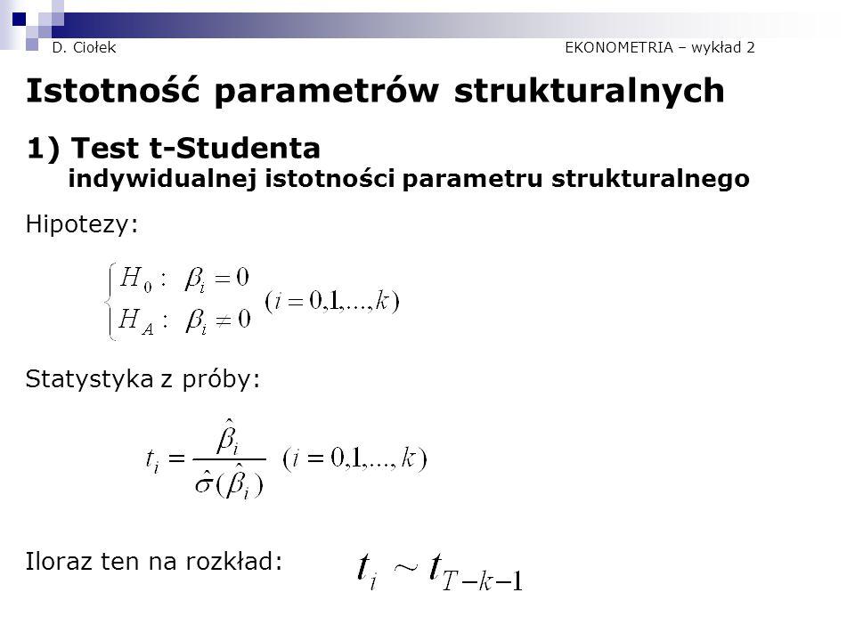 D. Ciołek EKONOMETRIA – wykład 2 Istotność parametrów strukturalnych 1) Test t-Studenta indywidualnej istotności parametru strukturalnego Hipotezy: St