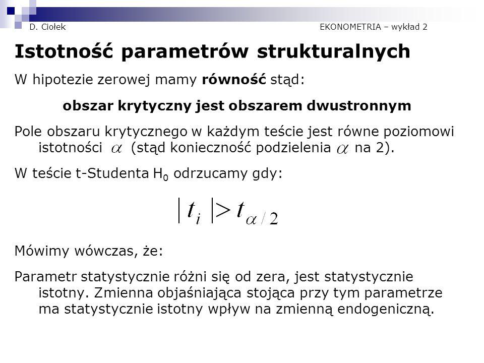 D. Ciołek EKONOMETRIA – wykład 2 Istotność parametrów strukturalnych W hipotezie zerowej mamy równość stąd: obszar krytyczny jest obszarem dwustronnym