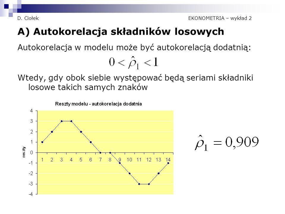 D. Ciołek EKONOMETRIA – wykład 2 A) Autokorelacja składników losowych Autokorelacja w modelu może być autokorelacją dodatnią: Wtedy, gdy obok siebie w