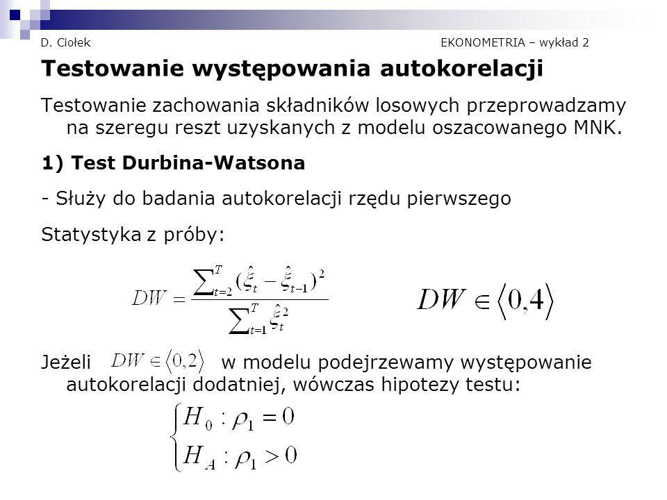 D. Ciołek EKONOMETRIA – wykład 2 Testowanie występowania autokorelacji Testowanie zachowania składników losowych przeprowadzamy na szeregu reszt uzysk