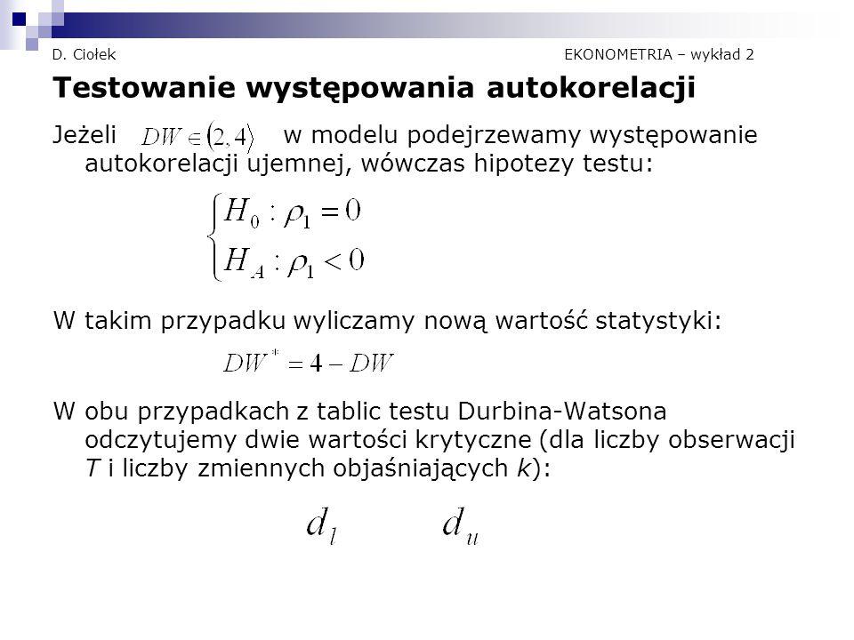 D. Ciołek EKONOMETRIA – wykład 2 Testowanie występowania autokorelacji Jeżeli w modelu podejrzewamy występowanie autokorelacji ujemnej, wówczas hipote