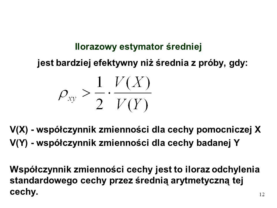 12 Ilorazowy estymator średniej jest bardziej efektywny niż średnia z próby, gdy: V(X) - współczynnik zmienności dla cechy pomocniczej X V(Y) - współc
