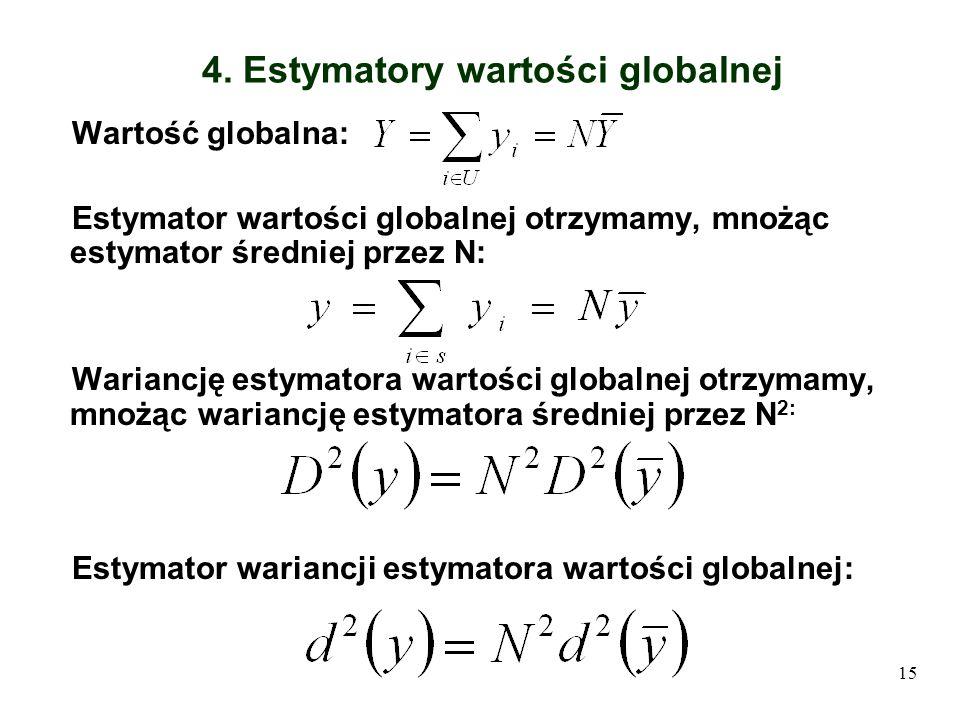 15 4. Estymatory wartości globalnej Wartość globalna: Estymator wartości globalnej otrzymamy, mnożąc estymator średniej przez N: Wariancję estymatora