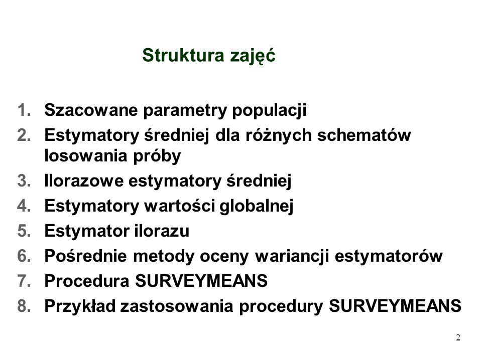 Struktura zajęć 1.Szacowane parametry populacji 2.Estymatory średniej dla różnych schematów losowania próby 3.Ilorazowe estymatory średniej 4.Estymato