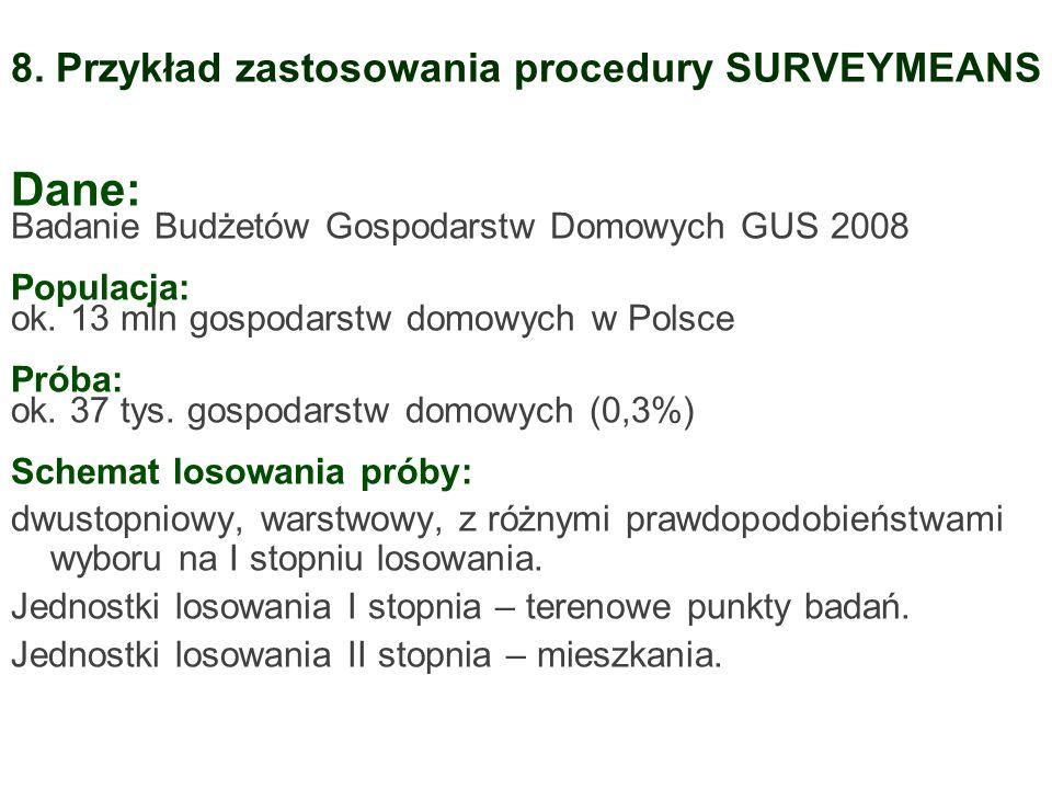 Dane: Badanie Budżetów Gospodarstw Domowych GUS 2008 Populacja: ok. 13 mln gospodarstw domowych w Polsce Próba: ok. 37 tys. gospodarstw domowych (0,3%