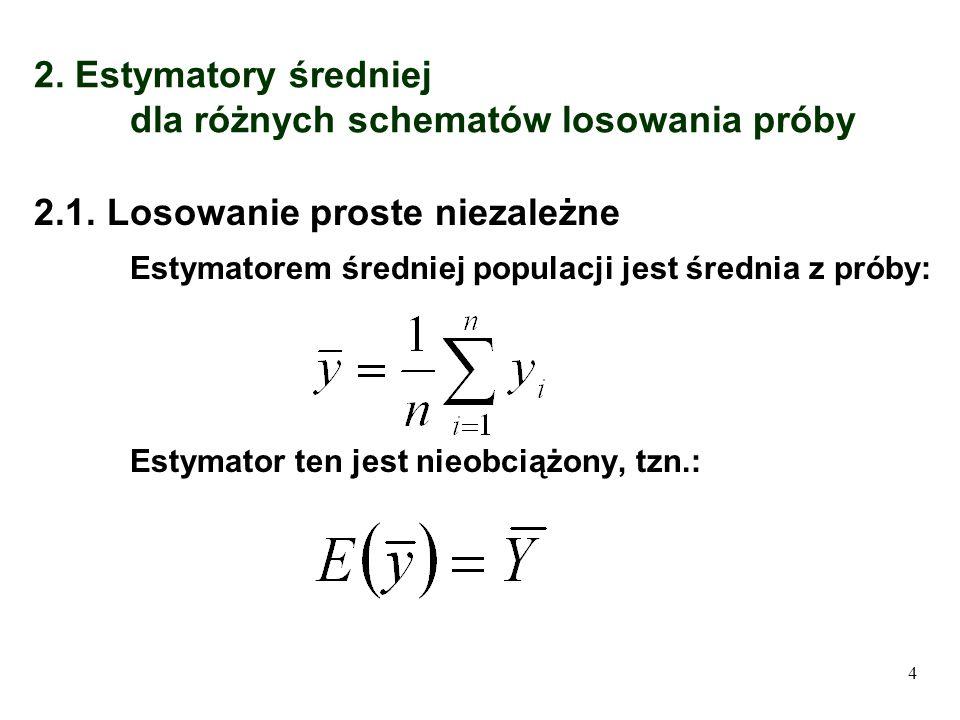 2. Estymatory średniej dla różnych schematów losowania próby 2.1. Losowanie proste niezależne Estymatorem średniej populacji jest średnia z próby: Est